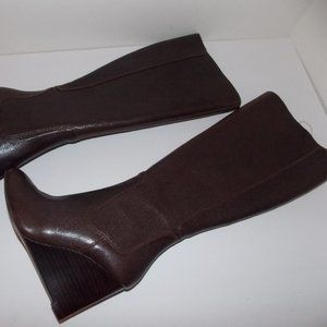 Nine West women's leather wedge boots size 5.5M